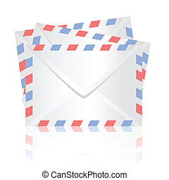 white envelopes - colorful illustration with white envelopes...
