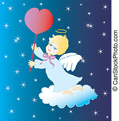 Little angel with red heart