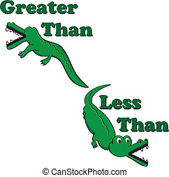 inequality alligators - Alligators illustrated with greater...