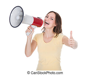 Woman Shouting Through Megaphone - Portrait Of A Young Woman...