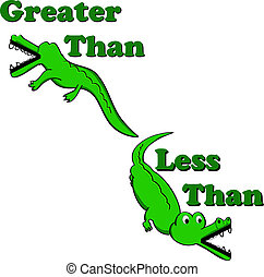 Greater than less than alligators - Alligators illustrated...