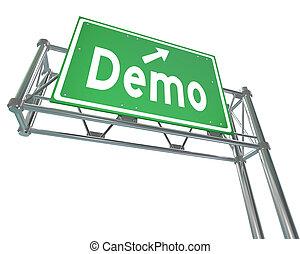 Demo, palavra, verde, Auto-estrada, sinal, produto,...