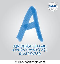 Blue Marker Alphabet and Digit Vector