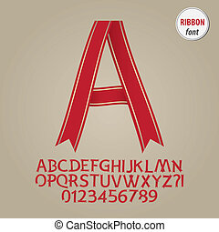 Red Ribbon Alphabet and Digit Vector