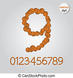 Orange Basketball Digit Vector