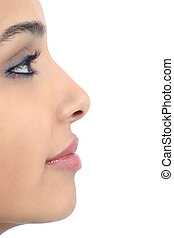 Profile of a perfect woman nose isolated on a white...