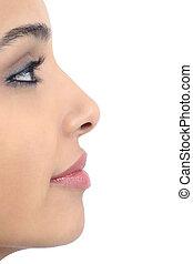 perfil, perfecto, mujer, nariz