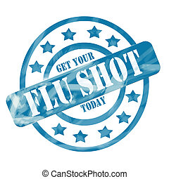 Blue Weathered Flu Shot Stamp Circles and Stars - A blue ink...
