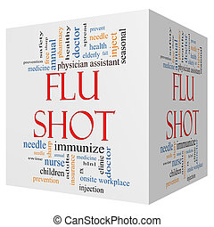 Flu Shot 3D Cube Word Cloud Concept - Flu Shot 3D cube Word...