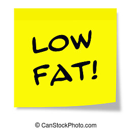 Low Fat Yellow Sticky Note - Low Fat written on a paper...