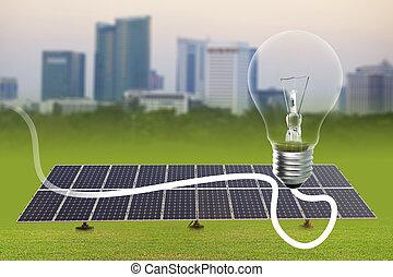 Light bulb and Solar energy plants