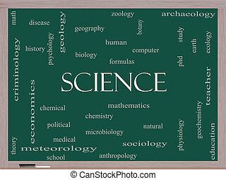 Ciencia, concepto, palabra, nube, pizarra