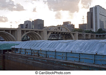 Barges and Bridge in Saint Paul - Robert Street arched...