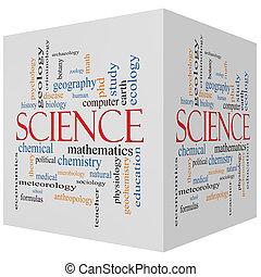 Ciencia, 3D, Cubo, palabra, nube, concepto