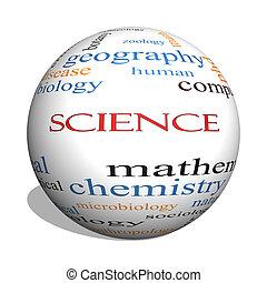 Ciencia, 3D, esfera, palabra, nube, concepto