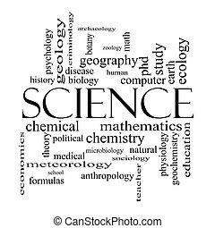 concepto, palabra, Ciencia, negro, blanco, nube