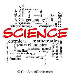 Ciencia, palabra, nube, concepto, rojo, tapas