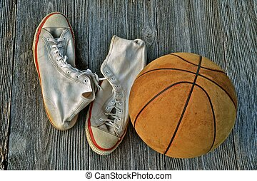 Vintage Basketball and Tennis Shoes - A pair of old canvas...