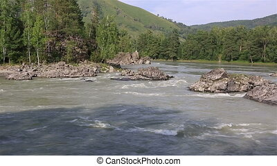 Panorama of the mountain river Katun Altai Krai Russia