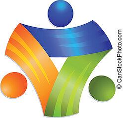 Trabalho equipe, networking, pessoas, App, logotipo