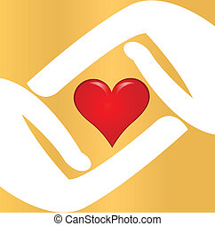 Vector of hands with red heart logo