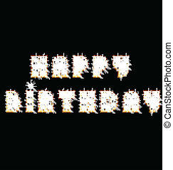 Happy birthday glowing text