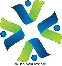 Business team around logo vector - Business team around icon...