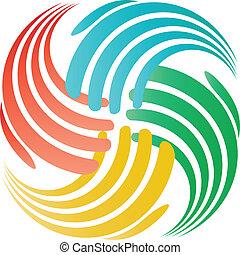 Hands teamwork concept logo