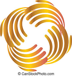 Hands business gold logo - Hands business icon vector...