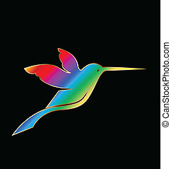 Vector rainbow gold hummingbird - Vector rainbow with gold...