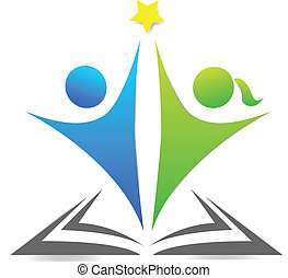 Book and children graphic logo - Book and children...