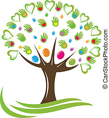 Tree hearts and hands logo - Tree hearts and hands symbol...