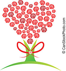 Red roses tree abstract design logo