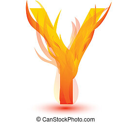 Fire Y letter image design vector