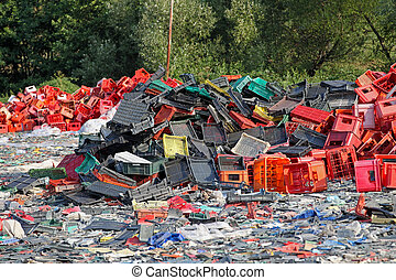 Plastic scrap - Big bunch of plastic waste for recycling