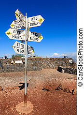 Sign on Mount Bental - Directions sign on Mount Bental on...