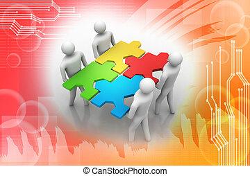 3d people - team with the puzzles - 3d people - team with...