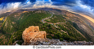 Golan Heights - Fisheye view of Northern Golan Heights from...