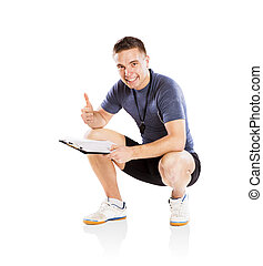 Fitness coach - Professional fitness coach isolated on white...
