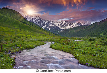 Colorful sunset in the Caucasus mountains - Fantastic sunset...
