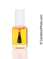Nail and cuticle oil on white background. - Nail and cuticle...