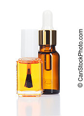 Natural oils for beauty care on white background. - Two...