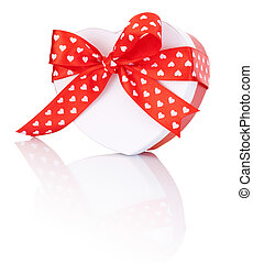 Heart Shaped Box Gift tied with ribbon with a bow Isolated on white background
