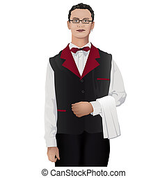 Waiter - Colored Illustration, Vector