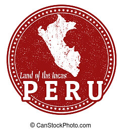 Peru stamp - Vintage stamp with text Land of the Incas...