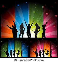 Dancers and Colorful Star Burst Ban - Dance Party - Night...