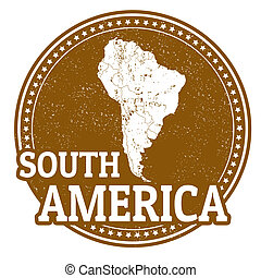South America stamp - Vintage stamp with word South America...