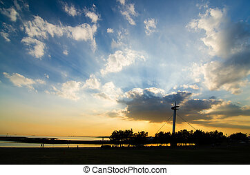 Power of Sunset at Suspension bridges of Kasairinkai park,...