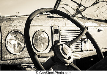 Old Car Interior - The interior of an old vintage car that...