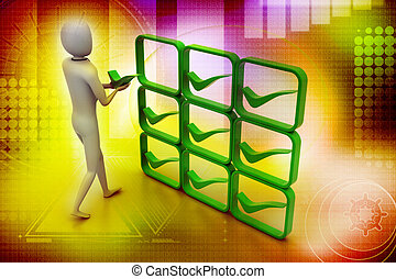 3d person with green positive
